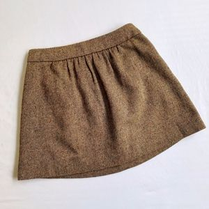 J. CREW • WOVEN TWEED SKIRT W/ POCKETS BROWN TAN
